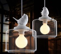 Промышленные винтаж подвесной светильник оригинальный птица дизайнер стеклянным абажуром E27 держатель подвесной светильник Лофт бар ламп