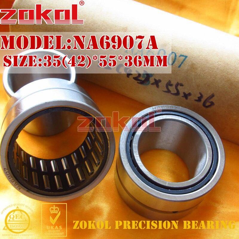 ZOKOL bearing NA6907 A NA6907A Entity ferrule needle roller bearing 35(42)*55*36mm na4910 heavy duty needle roller bearing entity needle bearing with inner ring 4524910 size 50 72 22