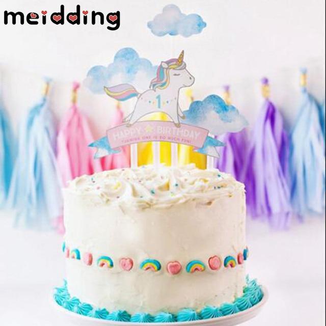 Meidding 1pcs Lovely Cartoon Unicorn Birthday Cake Topper Kids Girl