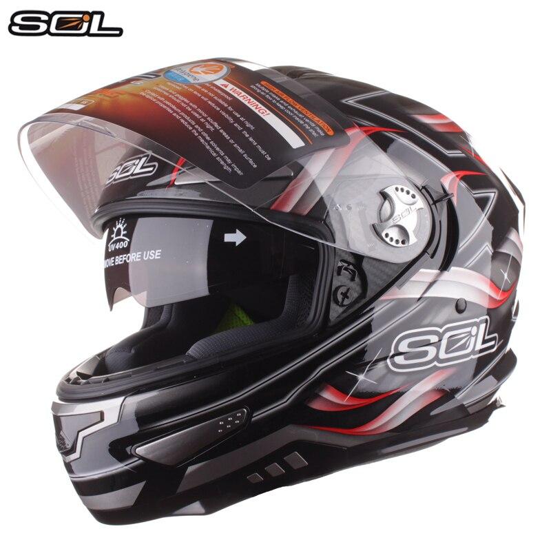 SOL Heavy Duty Motocicleta Completa Rosto Capacete de Moto Corrida Capacete Com Viseira de Sol Interior Lente Dupla Capacete Casco Capacete Moto