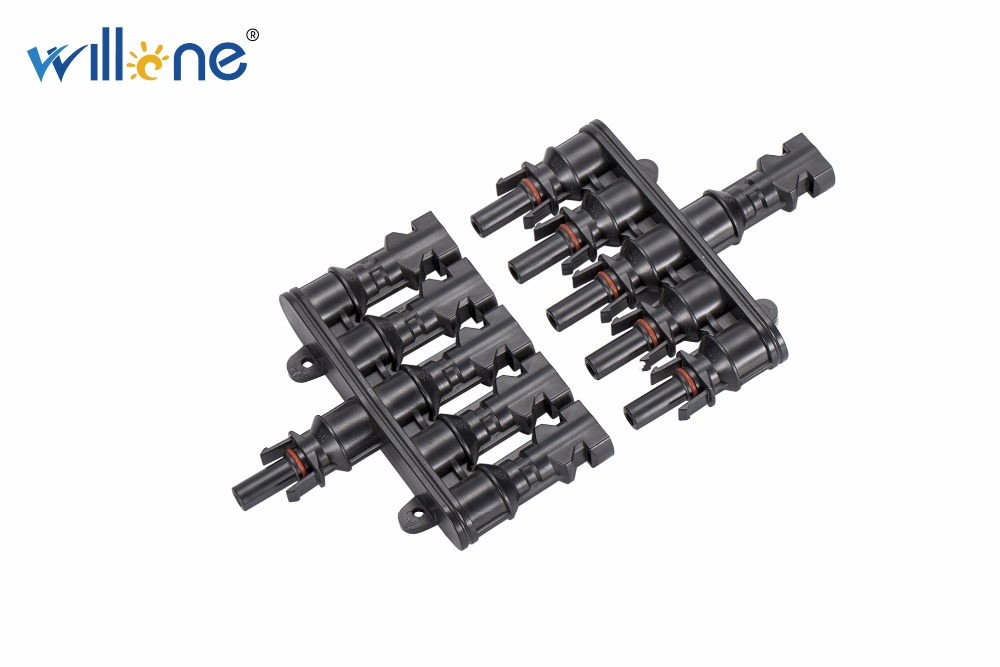 Willone 1 pair free shipping 5 to 1 MC4 T Branch 30A Solar Panel Connector Cable Coupler Combiner MC4 Panel Wires Connection