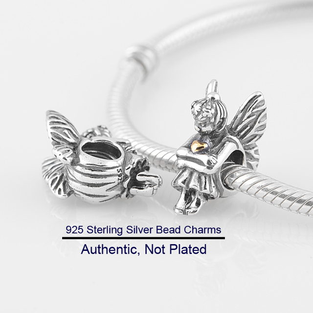 4a65d6b59 Fits For Pandora Bracelets Pixie Charms with 14K Gold Plated 100% 925 Sterling  Silver Beads