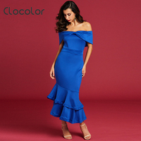 Clocolor 2017 New Slash Neck Mermaid Long Dress Elegant Party Blue Black Off The Shoulder Ruffles