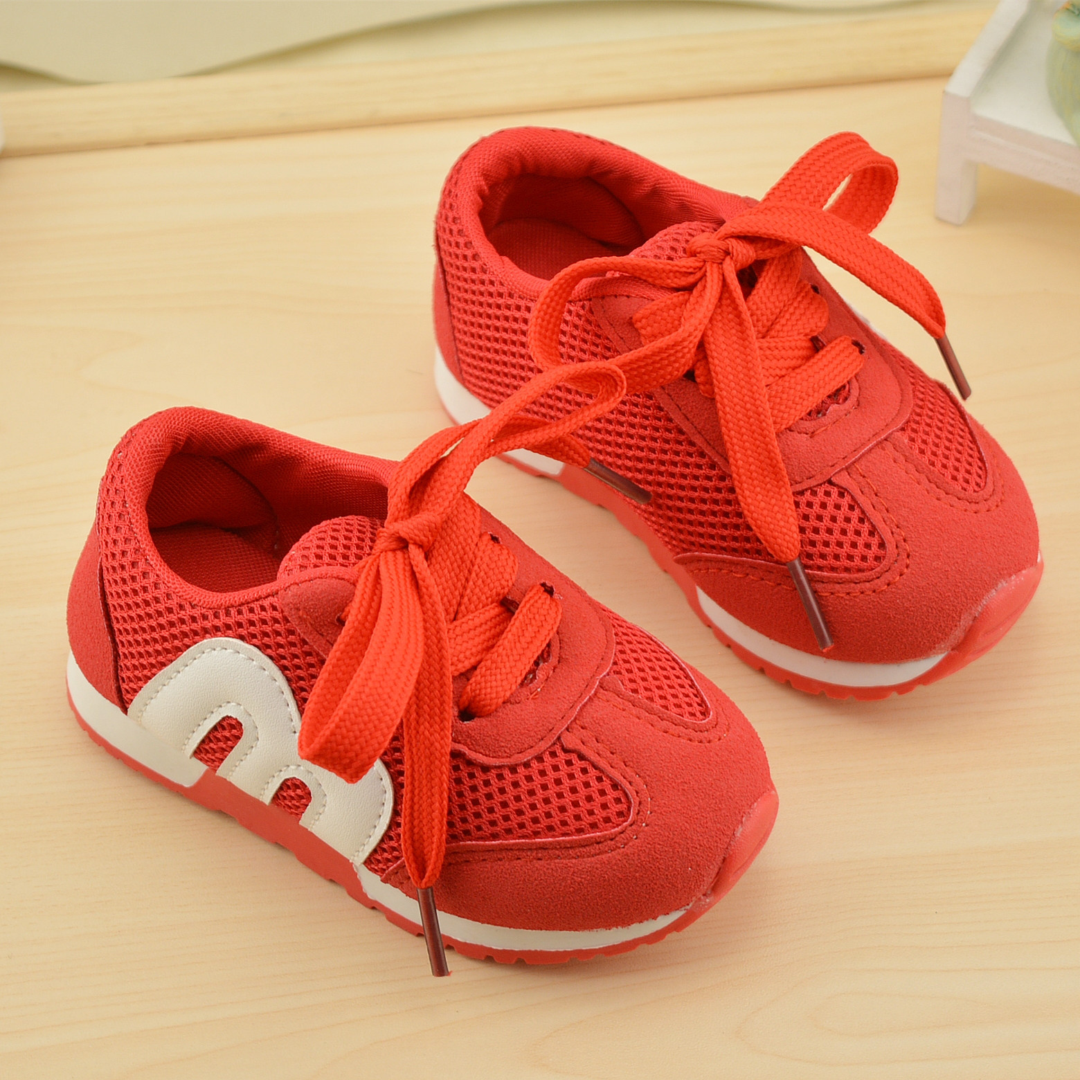 2018 Casual Kids Mesh Shoes Letter M Soft Bottom Baby Shoes Boys