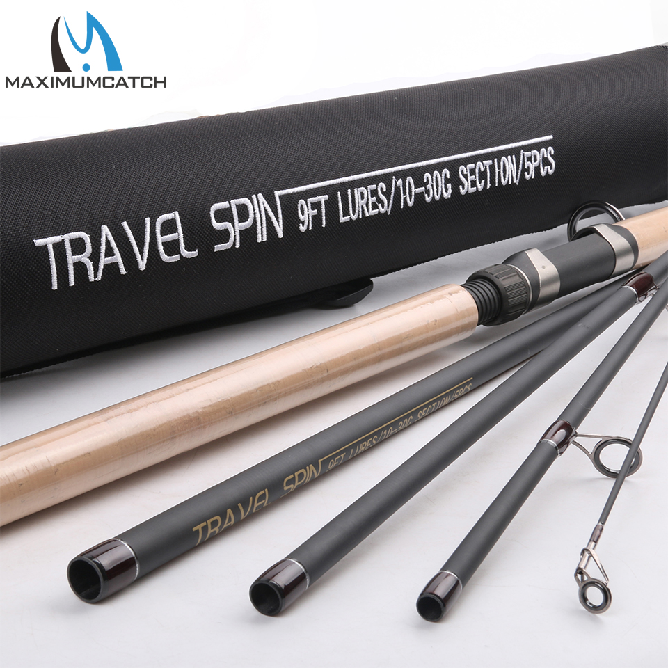 Fishing Rod 9FT 5Pcs Lure 10-30g Travel Spin Rod  With A Aluminum Tube Spinning Fishing Rod For Lure Fishing