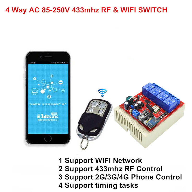 2017 New RF Remote Control Light Switch 4CH 110V 220V 250V AC + Smart Wifi Interruptor On Off Switch For Smart House XIND ELE 2017 new digital remote control switch 220v wifi light schakelaar 4 way 110v 250v ac input 10a rf 433 92 mhz controler