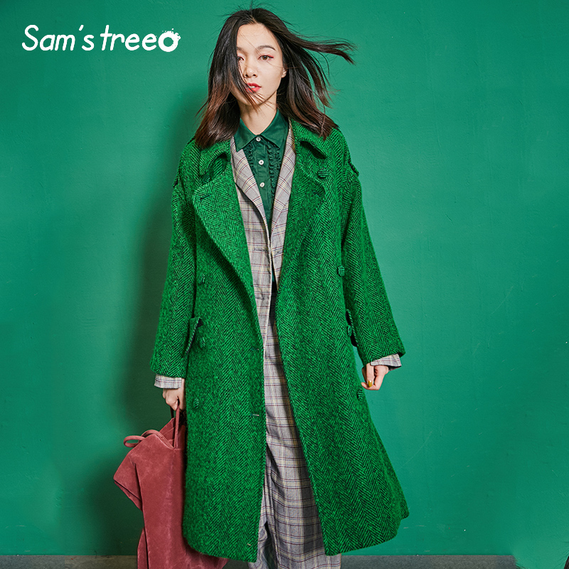 Samstree New Winter Vogue Women Wool Coat Oversize Long Double Breasted Belt Turn down Collar Pocket