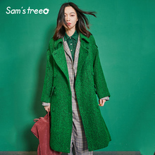 Samstree New Winter Vogue Women Wool Coat Oversize Long Double-Breasted Belt Turn-down Collar Pocket Outwear Coat Over Size double breasted belt epaulet design turndown collar wool coat