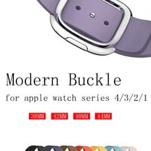 Modern Buckle strap for apple watch band 4 44mm 42mm 38mm 40mm correa Genuine leather watchband iwatch 3/2/1 bracelet belt