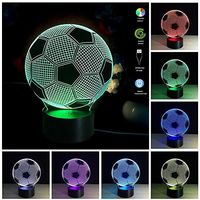 Smart Illusion Night Light 3D Abstract Illusion Led Lamp Soccer 7 Colors Night Light For Home
