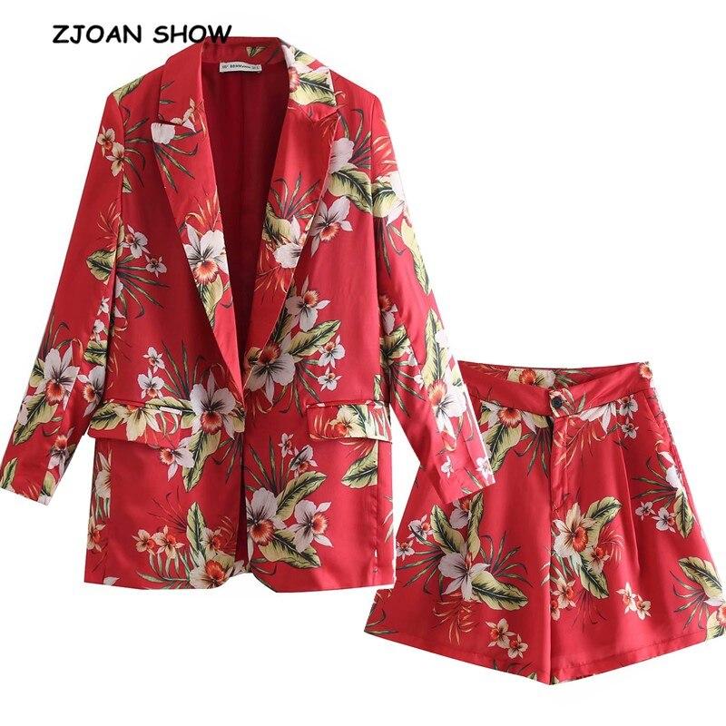 2019 стиль бойфренда без пуговиц женский красный блейзер с цветочным принтом Высокая талия Свободные шорты короткие брюки костюмы с длинными рукавами комплект из 2 предметов