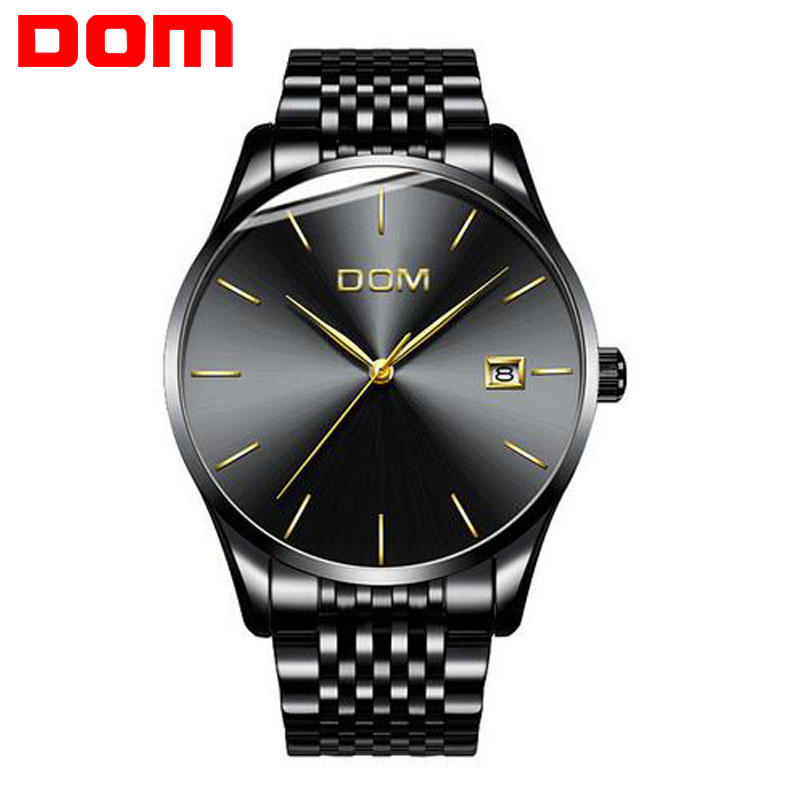 Men Watch Male Clock DOM Top Brand Luxury Famous Boys Date Quartz Wrist Watches Men Leather Steel Quartz-Watch Relogio Masculino baosaili fashion wrist watch men watches brand luxury famous male clock women unisex simple classic quartz leather watch bs996
