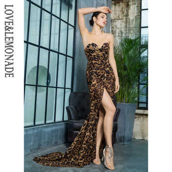 Love&Lemonade Deep V Neck Cross Brown Leopard Chiffon Slim Long Dress LM81352Brown