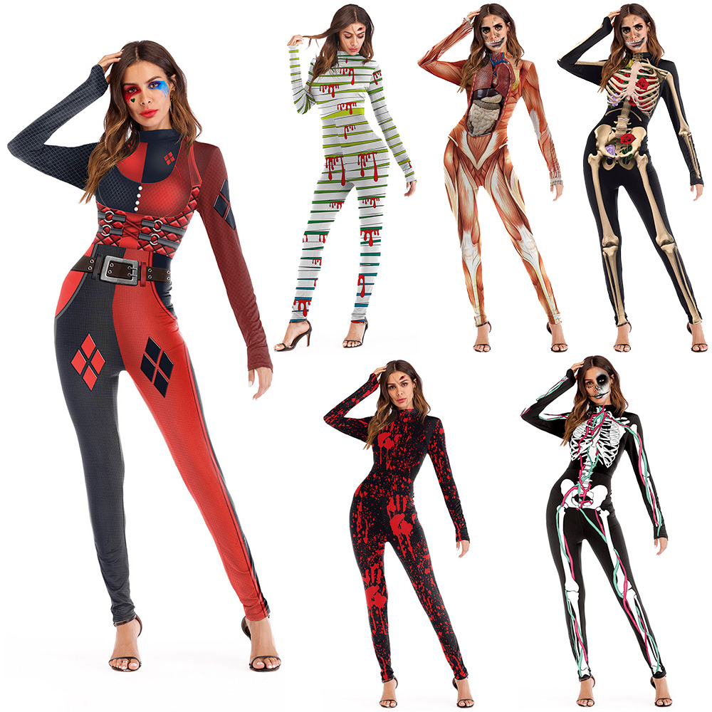 2018 New 006 Sexy Femme Bodysuit Halloween Skull Harley Quinn Cosplay Printed Playsuit Overalls Tights Fitness Women Jumpsuits