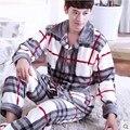 Men's Sleepwear Fall and Winter Thick Warm Plaid Flannel Pajamas Sets Sleep & Lounge Full Sleeve Male Pijamas Hombre HomeWear