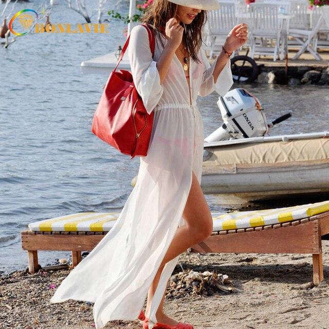 68d059acfb059 Женская Пляжная накидка из белого шифона, полупрозрачная сексуальная Длинная  пляжная туника, женские купальники,