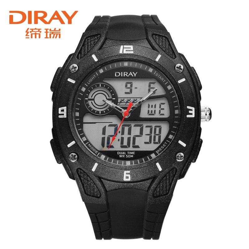 relogio masculino DIRAY Luxury Dual Display Men Watch Fashion Waterproof Sport Watches Silicone Military Digital Watch Hour Gift