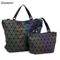 2017 Famous Logo Bag Women Geometry Sequins Mirror Plain Folding Bags Luminous BaoBao Bag PU Casual