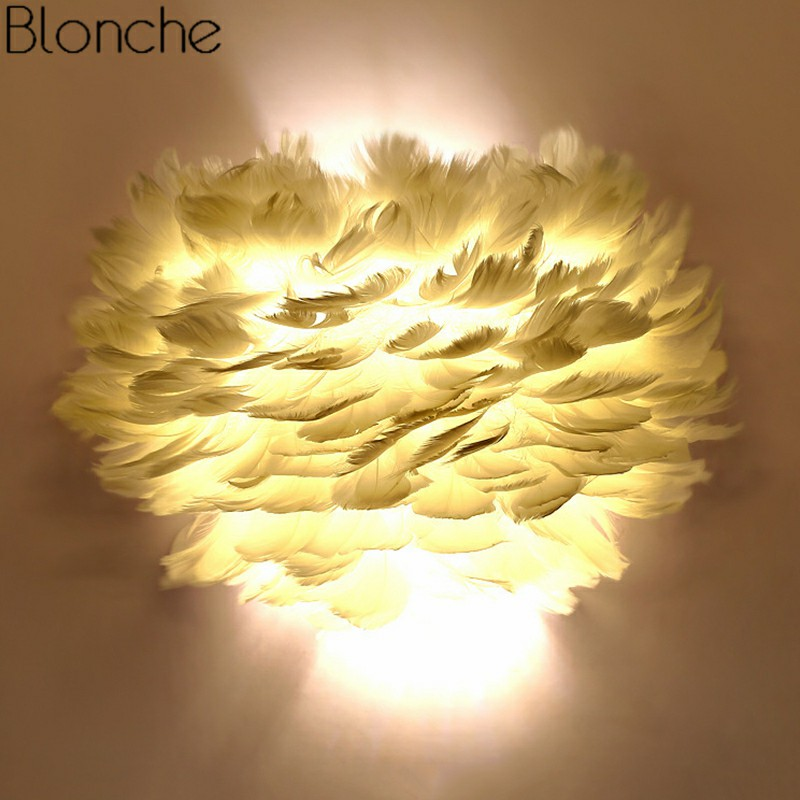 US $69.99 19% OFF|Modern Wall Lamp Feather Wall Sconce Lights Dream  Romantic LED Lamp for Home Living Room Kitchen Bedroom Decor Lighting  Fixtures-in ...