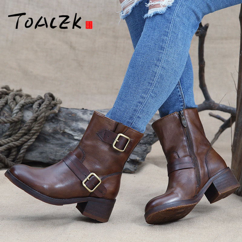 Women Platform Ankle Boots Round Toe Lace-Up Winter Shoes Woman Genuine Leather Boots Ladies Autumn Boots цены онлайн