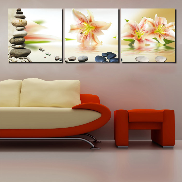 Sofa Wall Paintings Of Flower On Water 3 Piece Combination Stone Lily Art Canvas Square Pictures prints No Framed Beautiful Bed