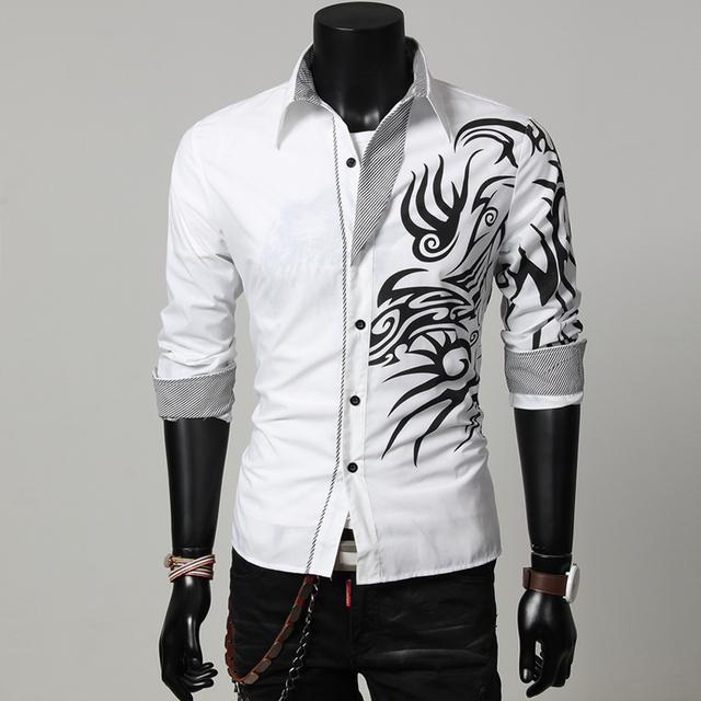 El nuevo 2016 de los hombres del dragón impresión camisetas de manga larga/de Los Hombres de moda camisa de algodón de ocio en Celosía de estilo Chino flanger