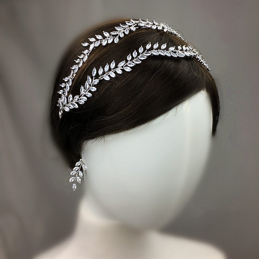 CZ Bridal Crown Earrings Zirconia Leaf Headband Tiara Set Crowns And Tiaras Wedding Hair Jewelry Diadem