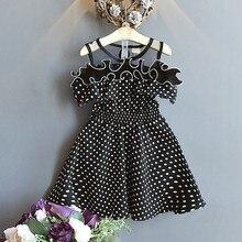Summer Casual Baby Girls Short Sleeve Polka Dot Print Dress Kids Toddler Pageant Sundress split bell sleeve cut and sew polka dot dress