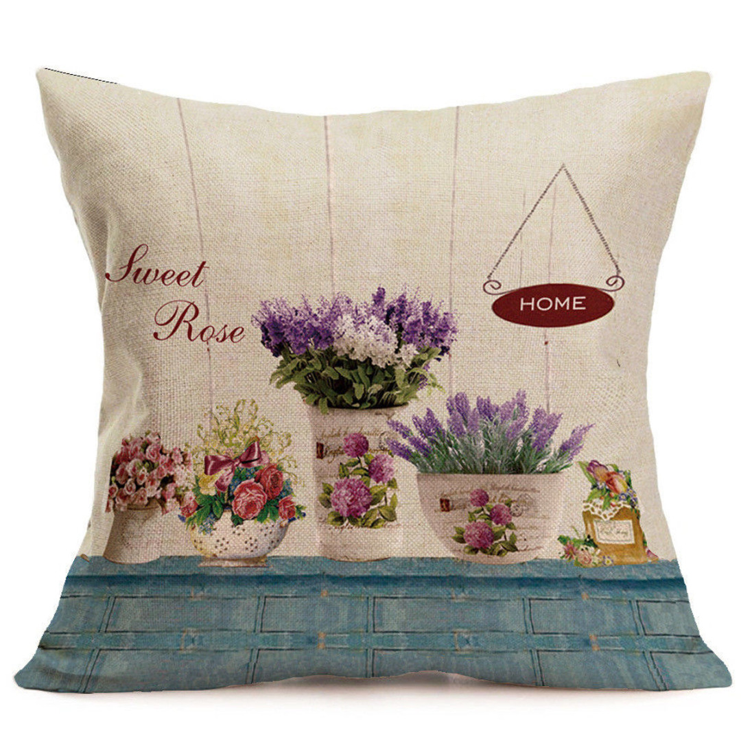 Vintage Flower Pillow Case Rose Flower Cushion Cover Colorful Pillow Cover for Home Sofa Car Decorations Pillowcase