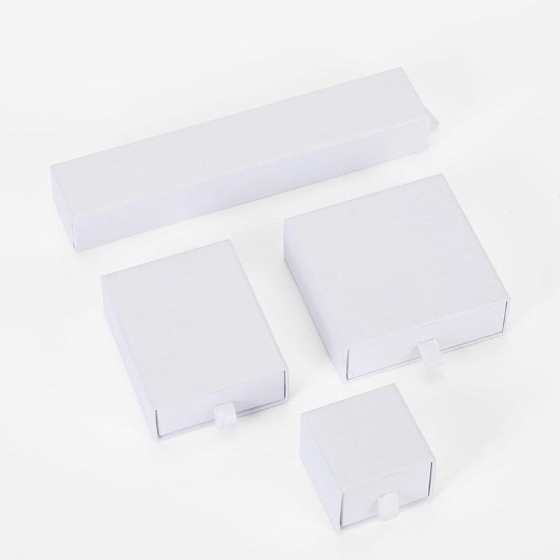 12 Pieces/Lot High Quality White Jewelry Box Pink Kraft Paper Favour Bulk Gift Display Boxes Bag Necklace Bracelet Box
