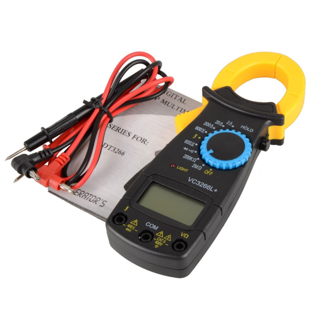 Black AC Digital Clamp DT3266L LCD Display Digital Multimeter Digital Clamp Meter Probe Without Battery clamp multimeter dt3266l lcd display digital multimeter handle ac voltage current resistance tester dt3266l multimeter tester