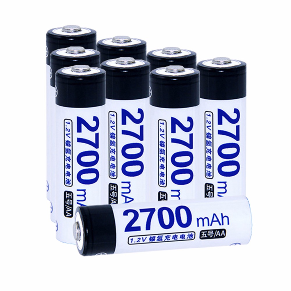 True capacity! 9 pcs AA 1.2V NIMH AA rechargeable batteries 2700mah for camera razor toy remote control flashlight 2A batterie