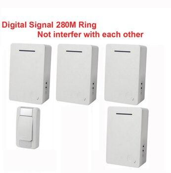D28 1-4 wireless door bell 4 receiver bell by AA battery doorbell Waterproof 280 Meter door chime door ring digital signal ring