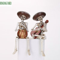 Horror Home Decoration Statue Handicraft Human Terror Resin Skull Skeleton Sculpture Halloween Decor Model Figurines Art Gift