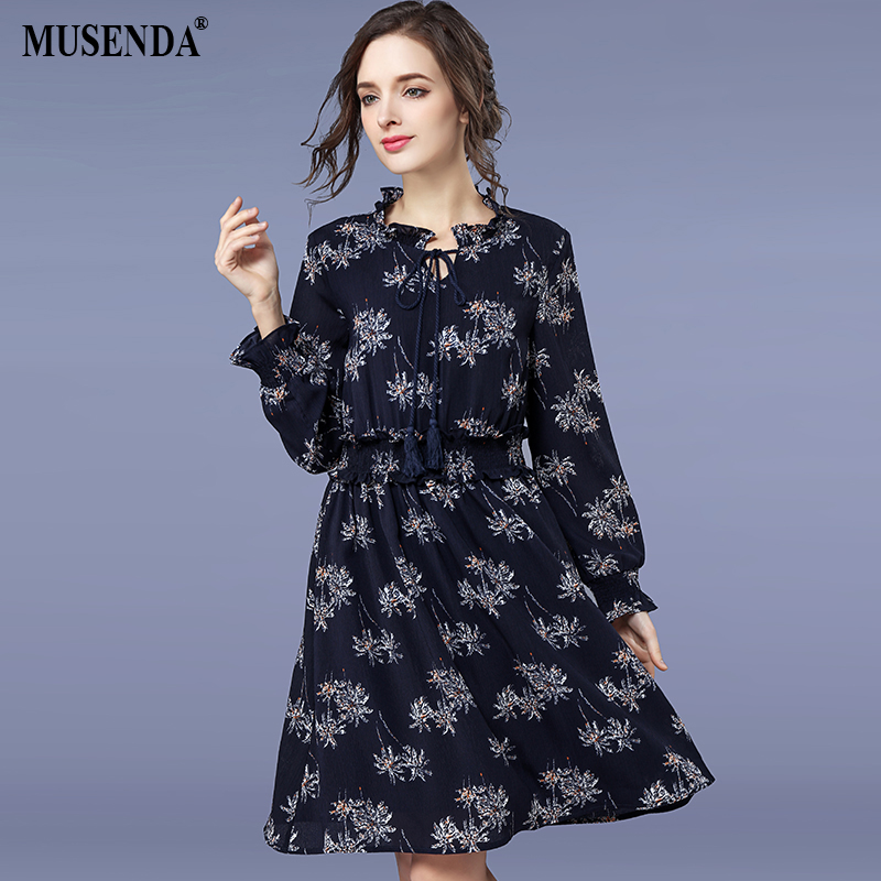 US $16.94 |MUSENDA Plus Size Women Royal Blue Chiffon Print Tunic Draped  Dress 2018 Spring Female Lady Sweet Dresses Vestido Clothing Robe-in  Dresses ...