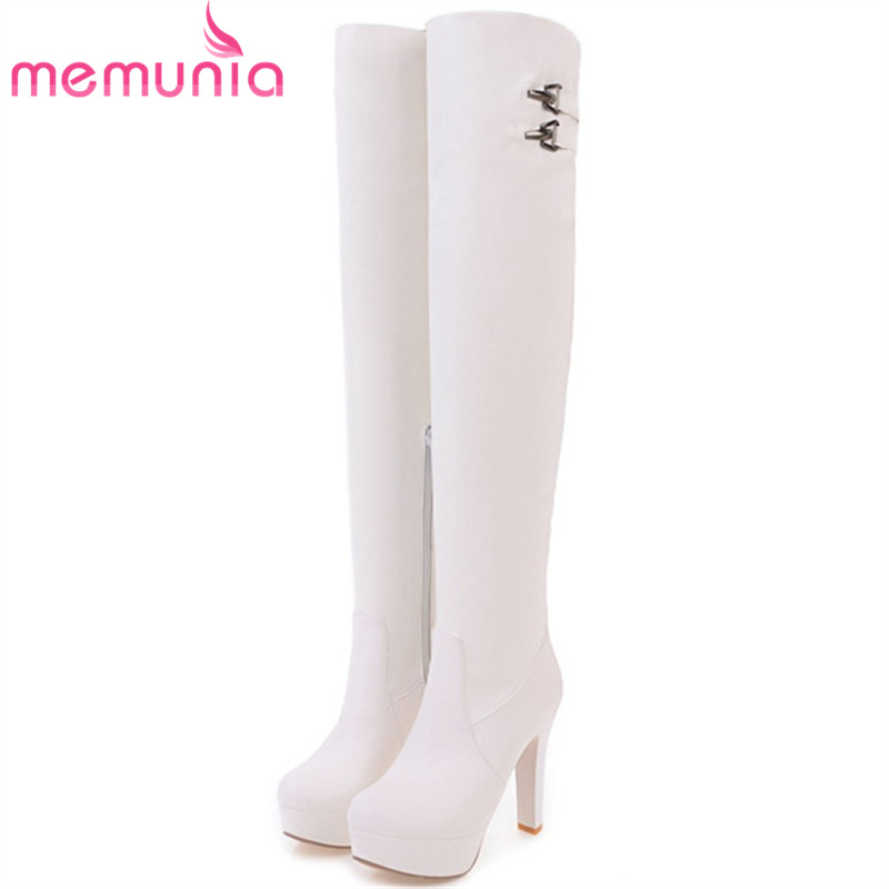 MEMUNIA Big size 34-43 Over the knee boots for women fashion shoes woman party PU platform boots zip high heels boots female цены онлайн
