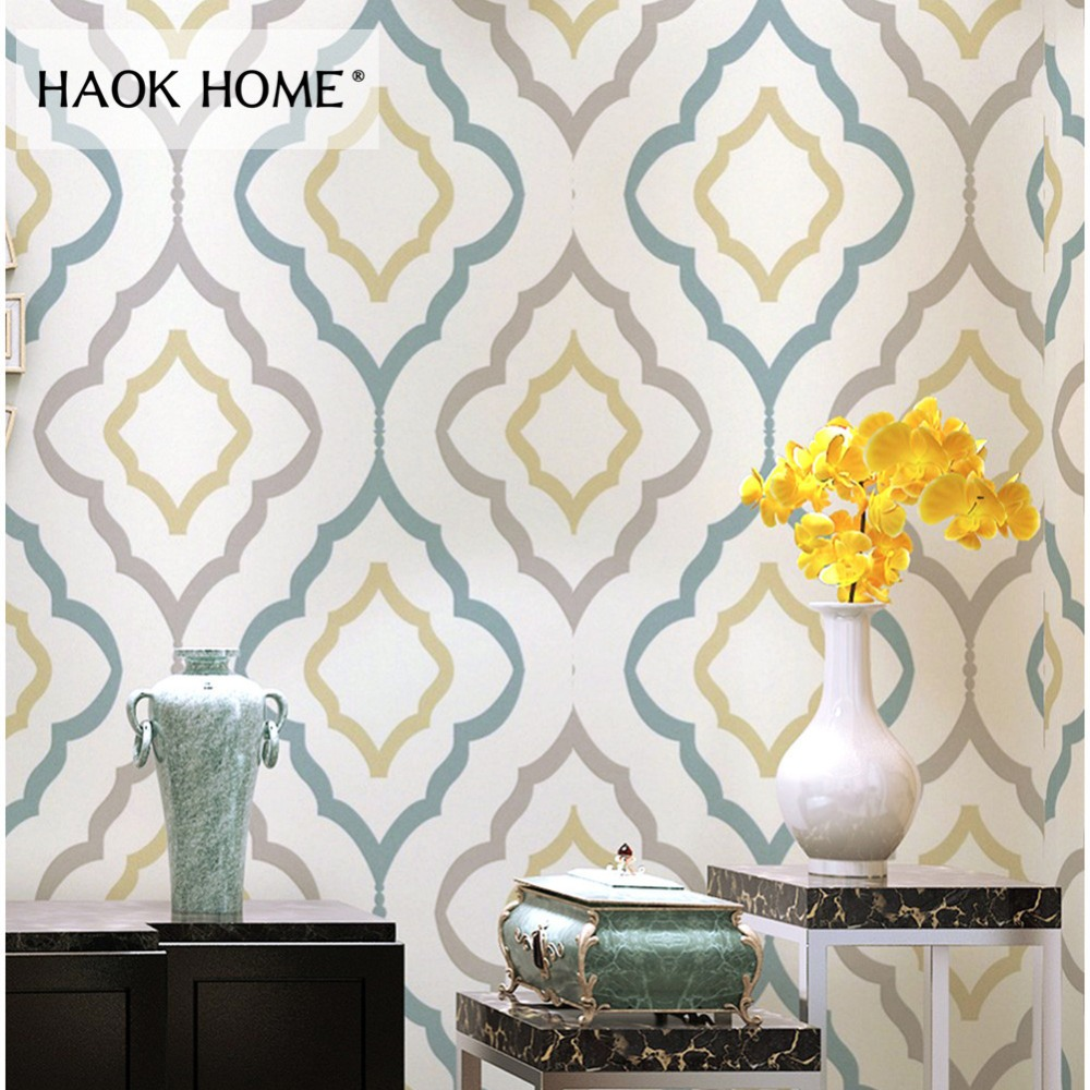 HaokHome Modern Geometric Wallpaper Rolls Non Woven Textured Graphic Trellis Contact paper for Living Room bedroom Home Decor simple cozy solid color modern textured wallpaper for walls bedroom living room background decor non woven wall paper rolls