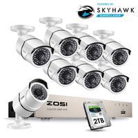 ZOSI 1080 P 8CH 네트워크 PoE 비디오 감시 시스템 8 pcs 2MP 야외 실내 총알 IP 카메라 CCTV 보안 NVR 키트 2 테라바이트 HDD