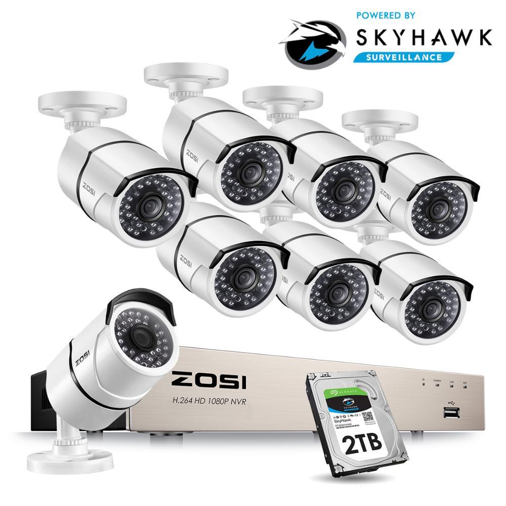 ZOSI 1080P 8CH 8pcs 2MP PoE Rede Sistema de Vigilância de Vídeo Ao Ar Livre Indoor Bala Câmeras IP de Segurança CCTV NVR kit 2TB HDD