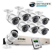 ZOSI 1080P 8CH Netzwerk PoE Video Überwachung System 8 stücke 2MP Outdoor Indoor Kugel IP Kameras CCTV Sicherheit NVR kit 2TB HDD