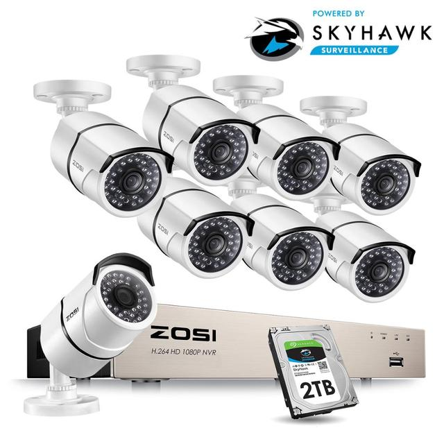 Zosi 1080 1080p 8CH ネットワーク poe ビデオ監視システム 8 個 2MP 屋外屋内弾丸 ip カメラ cctv セキュリティ nvr キット 2 テラバイト hdd