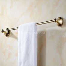 Настенное крепление роскошные золотые Цвет латунь Ванная комната Ванны Комплектующие Полотенца один бар железнодорожный держатель Ванная комната установки аксессуаров aba875
