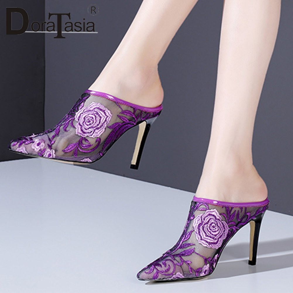 DORATASIA 2019 Mesh Flowers Embroider Mules Shoes Women Thin High Heels Pointed Toe Pumps Women Shoes Woman Size 33-40