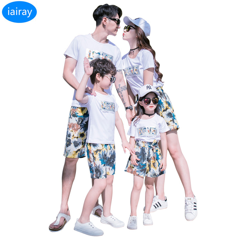 Mother & Kids Delicious Family Clothes For Mother And Daughter Matching Sets Summer Beach Clothes Boys T Shirt Men Casual Flower Pants Skirts For Girls