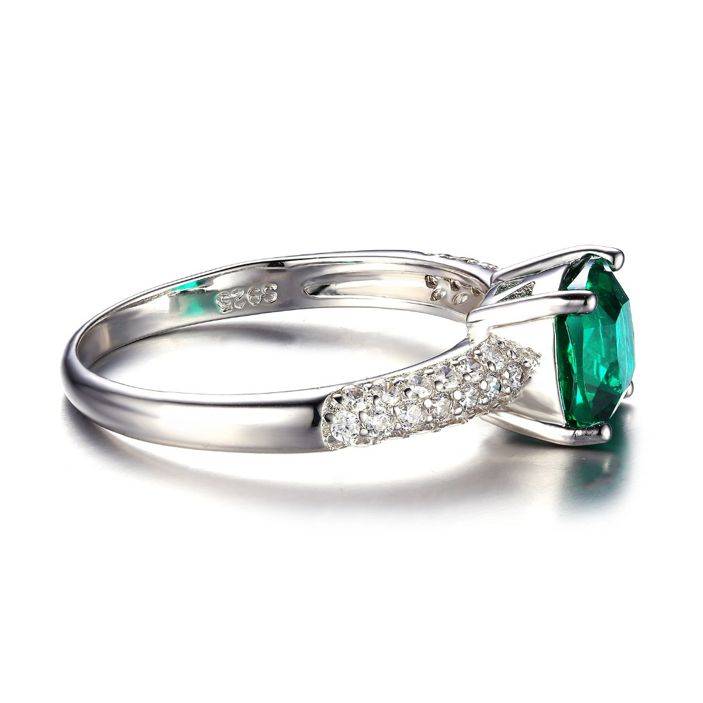 JewelryPalace Cushion Solitaire Engagement Ring 925 Sterling Silver emerald rings JTwD2Iv2pz