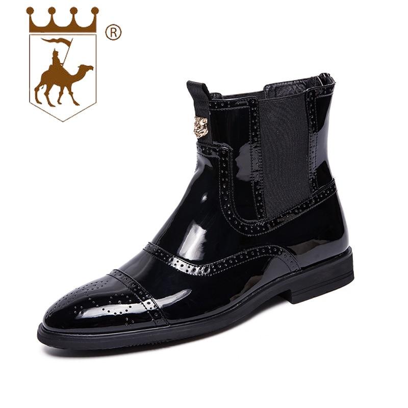 b9d2956e931eff Cuir Chaussures slip Liée En Haute Pointu Non Bottes Verni Backcamel Martin  Des Chocs Hommes Black ...
