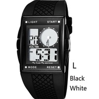 OTS Luxury Brand Dual Display Wristwatches Men Square Dial Clock Relogio Masculino LED Digital Rubber Band