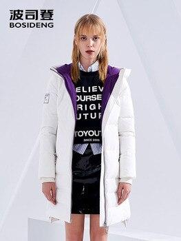 BOSIDENG new winter duck down coat hooded long down jacket women thicken outwear water restant high quality B80141514DS