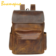 CHARA'S BAG brand Cowhide waterproof backpack men/women Retro crazy-horse leather backpack Unisex Travel vacation Shoulder Bags the student travel book wrapping retro computer bag backpack men s casual backpack crazy horse