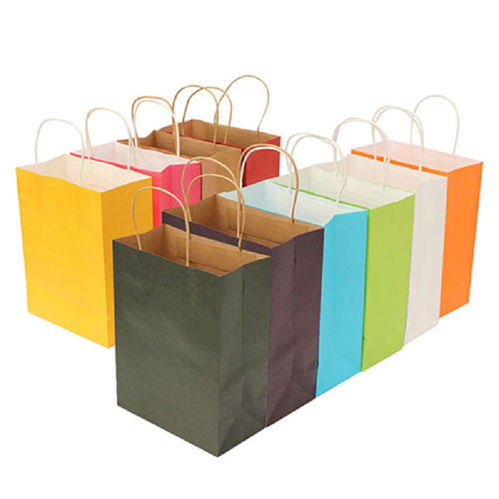Recyclable Party Bags Kraft Paper Gift Bag With Handles Shop Loot Bag